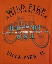 Harley Davidson Wild Fire Villa Park Illinois Orange T Shirt 2XL - $19.50