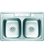 Aspen 33W X 22L X 6D Double Bowl Topmount 4-Hole 22G Stainless Steel Sink - $99.99