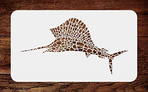 Primary image for Marlin Stencil - 11.5 x 6 inch - Reusable Mosaic Fish Sailfish Wall Stencils Tem
