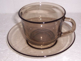Arcoroc Cup & Saucer Set Tan Brown Color Collectible Glass- Made In France - $11.99