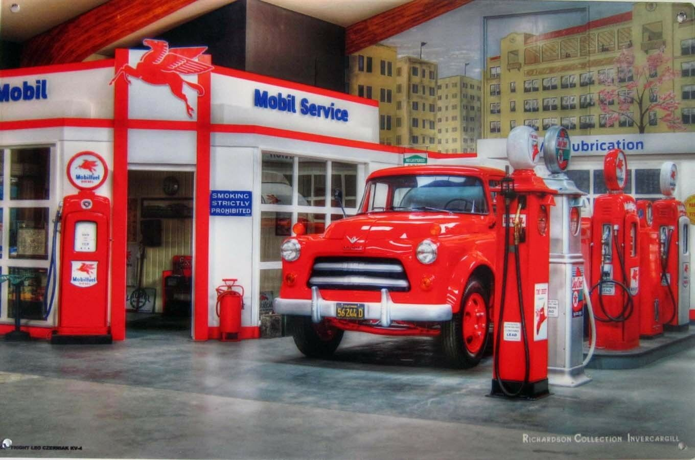 Primary image for Mobil Service Station Dodge Truck Leo Czerniak Metal Sign