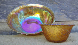 Vintage Indiana Glass Bowls, Set of 2, Carnival Glass, Weavetex Pattern - $30.00