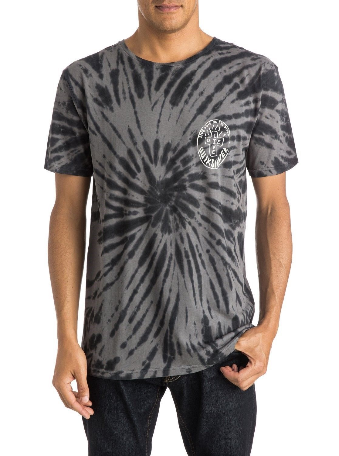 Quiksilver Men's Tee Shirt Surfing Casual Live + Die On The Beach T-Shirt
