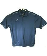 Nike Dri Fit Mens Size L Golf Polo Shirt Short Sleeve Blue White Stripe Detail - $11.84