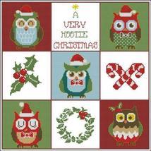 Hooties Christmas Owls Sampler owl cross stitch chart Pinoy Stitch - $13.50