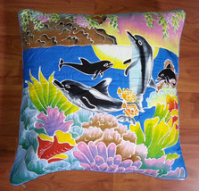 New Handpainted Batik Dolphins Coral 23X23 Inch Cotton Pillow Cover Bali - $24.31