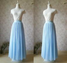 Light Blue Long Tulle Skirt Floor Length Plus Size Tulle Long Bridesmaid Skirts
