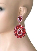 """3.25"""" Long Cluster Clip On Earrings Red Rhinestones Drag Queen Pageant Party - $17.05"""