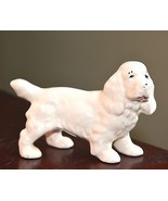 COCKER SPANIEL PUPPY DOG VINTAGE FIGURINE WHITE PORCELAIN HAND PAINTED 5... - $24.99