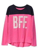 GAP Kids Girls T-shirt 14 16 Pink Navy Best Friend Graphic Long Sleeve C... - $17.95