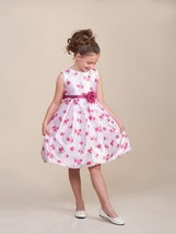 Sweet White Sleeveless Pink Floral Flower Girl Pageant Dress Crayon Kids... - $37.23+