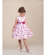 Sweet White Sleeveless Pink Floral Flower Girl Pageant Dress Crayon Kids... - $37.23