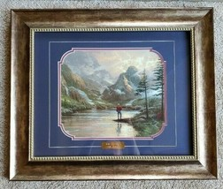 Framed Behind Glass Thomas Kinkade Almost Heaven Art Print Gold Plate Etching  - $490.05