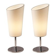 Bedroom Side Table Modern Chrome Accent Lamp With White Shade (Set of 2) - $27.18