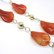 925 Silver Necklace, Carnelian Oval Crimped, Double Chain, 110 cm long image 4