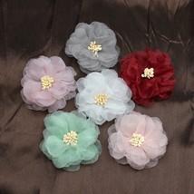 HUADODO 10pcs Chiffon Artificial Flower Handmade DIY Fabric Flowers for ... - $5.70