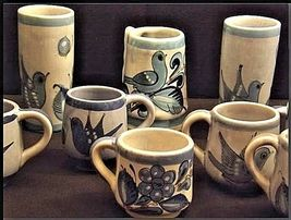 Mexico Pottery Cups Set of 9 pieces Vintage image 3