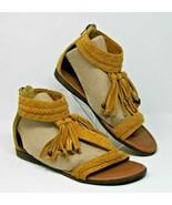 Minnetonka Size 8 Brielle Tassel Back Zip Sandal Brown Flats Shoes BOHO - $37.99