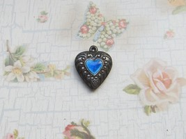 Vintage Sterling silver enameled puffy heart charm- BLUE HEART & SWIRLS - $25.00