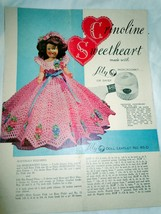 Vintage Crinoline Sweetheart Doll Crocheted Dress Patterns  1951 - $4.99