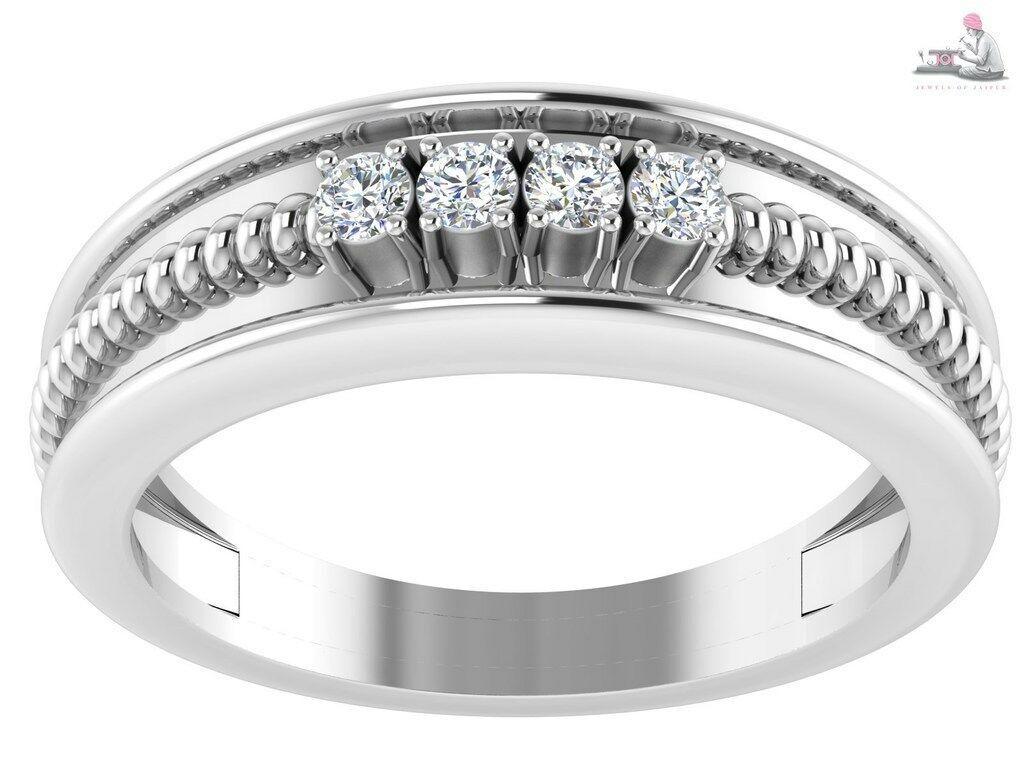 14k white gold 0.20 TCW Round Brilliant Cut IGI Certified Diamond ring Fine