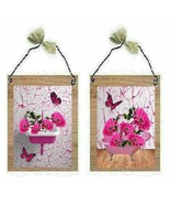 Bathroom Daisy Pictures Pink Sink Bath Tub Butterflies Wall Hangings Pla... - $7.99+