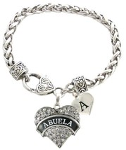 Custom Abuela Crystal Heart Silver Bracelet Jewelry Gift Choose Initial Charm - $13.94