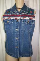 PAUL HARRIS Sz M Blue Jean Roses Floral Ribbon Ric Rac Denim Vest - $15.78