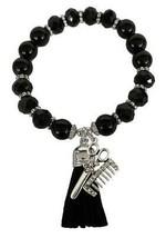 Hair Stylist Barber Black Glass & Stone Beaded Tassel Stretch Bracelet Jewelry - $15.83