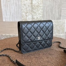 BNIB AUTHENTIC CHANEL BLACK QUILTED CAVIAR SQUARE FLAP BAG SHW image 3