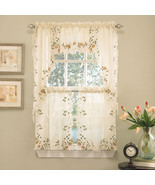 Floral Embroidered Semi-Sheer Linen Kitchen Curtain Choice Tier Valance or Swag - $14.69