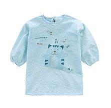 Waterproof Sleeved Bib Baby Feeding Bibs Painting Apron Light Blue, 0-3Years