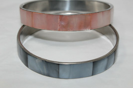 2 Vintage Silvertone Light Pink & Blue Mother of Pearl Inset Bangle Brac... - $14.85