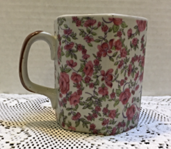 Vintage Stoneware Pink Rose Floral Design Hexagon Shaped Coffee Cup Mug - $8.00