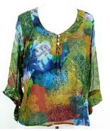 COLDWATER CREEK Size 1X Silk Chiffon Button Detail Top Blouse - $14.99