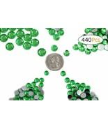 Acrylic Rhinestones Flat Back Green Bright Peridot Mixed 5 Sizes 440 Pcs - $12.30