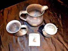Pewter Pitcher, Cups, Creamer with Lid AA18-1291 Vintage Hand Cast image 5
