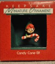 Hallmark - Candy Cane Elf - Elf and Candy Cane - 1988 Miniature Ornament - $8.61