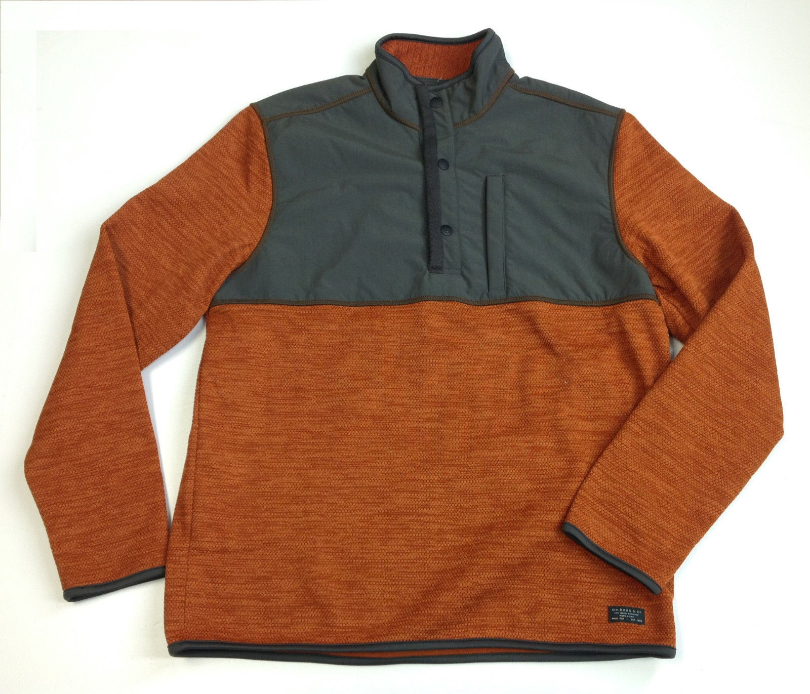 Primary image for G.H. Bass & Co. Men's Mixed Media Pullover, Orange, Size L
