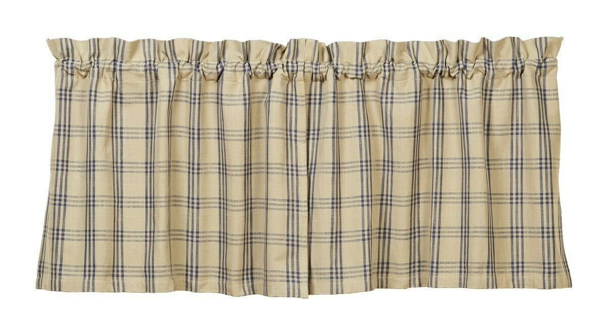 Primary image for country primitive cabin farmhouse Cottonwood Blue & tan plaid TIERS curtains