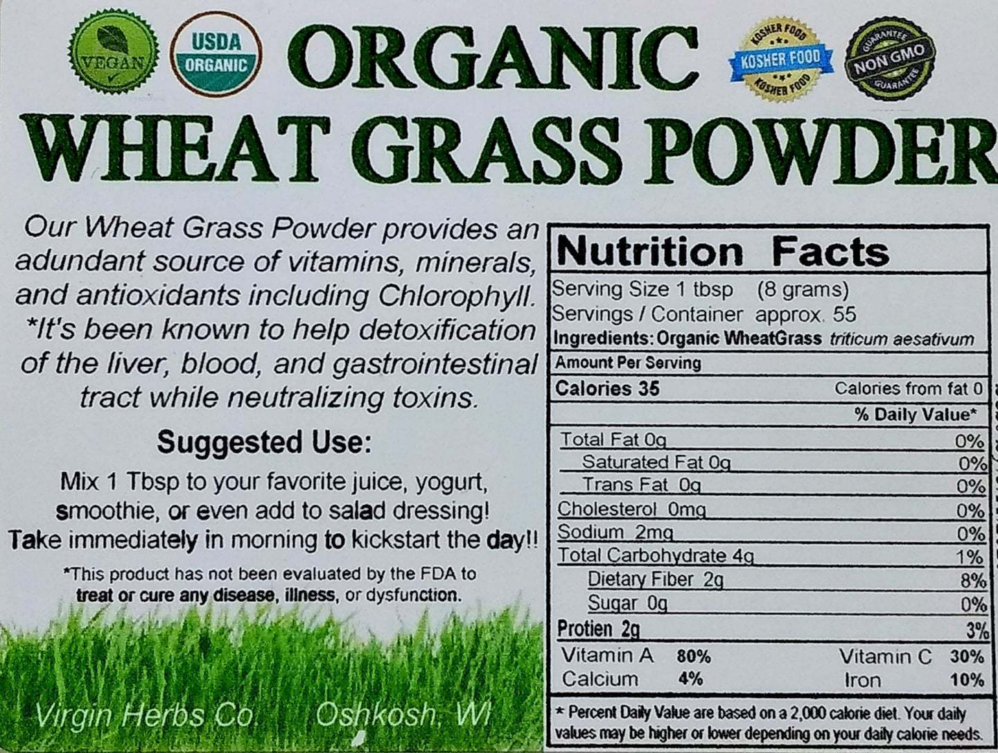 2 pounds 100% Pure USDA Organic Wheat Grass Wheatgrass Powder Raw Bulk Raw Vegan
