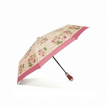 NWT COACH Umbrella Nylon Signature Lily Bouquet Print Khaki Rose Pink F7... - $47.52