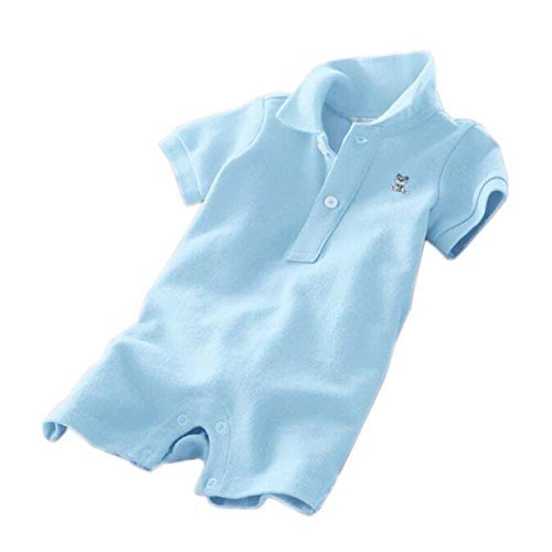 Baby Polo Bodysuit Infant Romper Toddlers Onesies Learn Creeping Climbing Blue