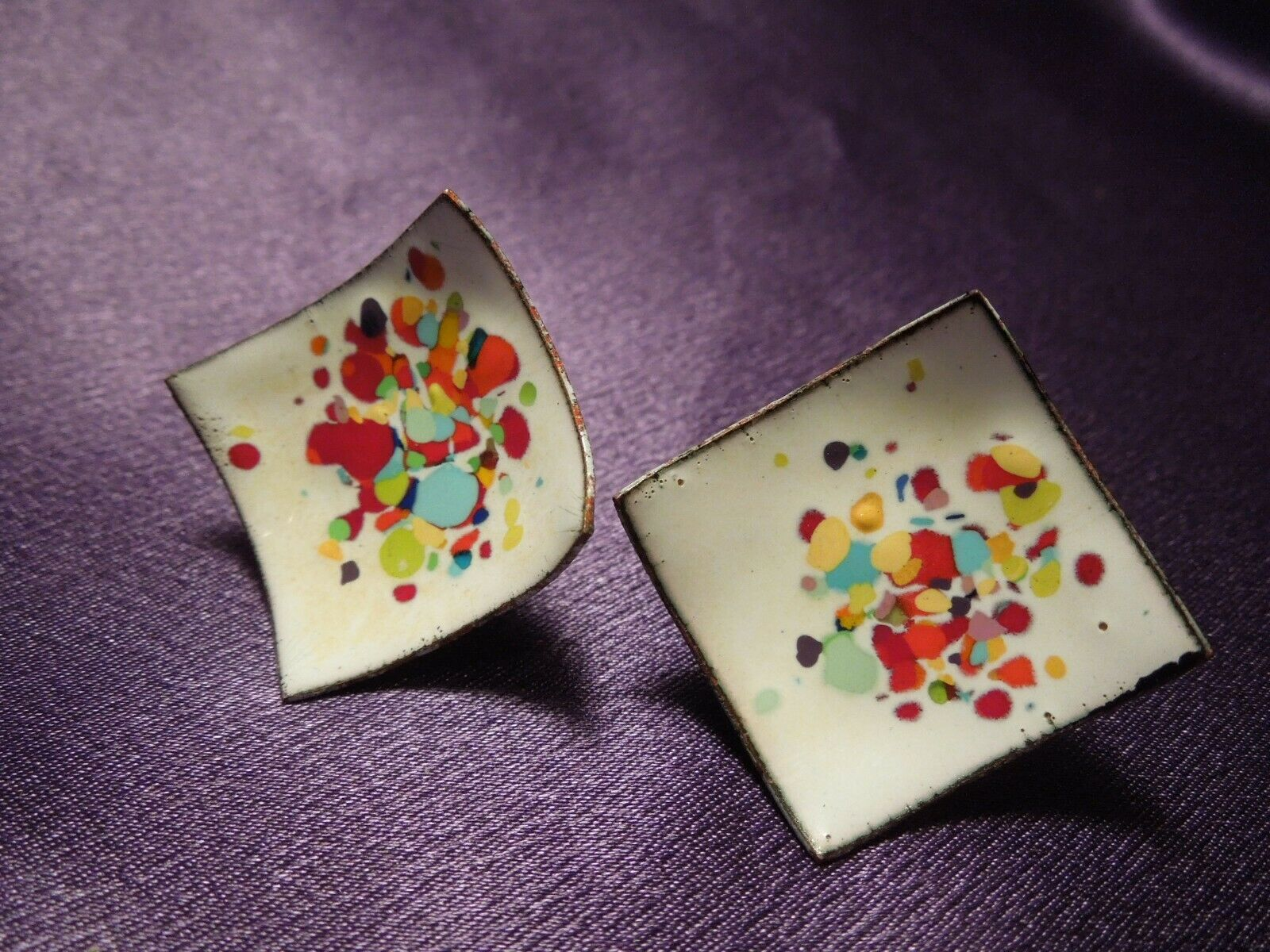 Abstract Modernist Copper Enamel Painted Screw Back Earrings & Brooch