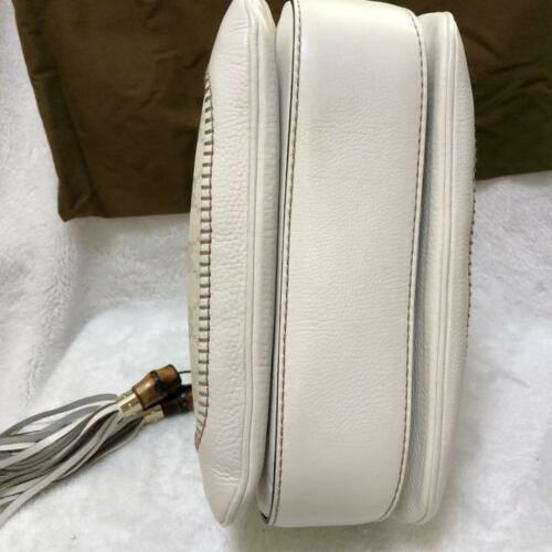 Auth Gucci Bamboo Shoulder Bag White Canvas Leather Medium Flap Turnlock G169