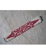 Bracelet, Deep Pink & Cream Aztec Sun Motif, Peyote Stitch, Tube Clasp - $39.00