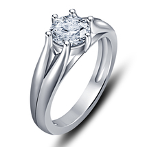 White Rhodium Fn 925 Silver Round Simulated Diamond Solitaire Ring Free Shipping - $50.22