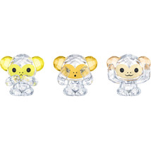 Authentic Swarovski Three Wise Monkeys Crystal Figurines - $247.78