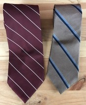 WEMBLEY Polyester & Silk Necktie NeckTie Lot of 2 Made in USA - $9.41