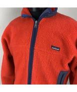 Patagonia Jacket Retro X Deep Pile Sherpa Red Navy Coat Ski Zip Large VTG - $269.99